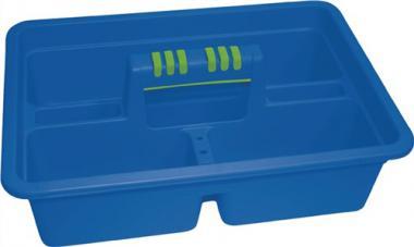 Werkzeugtragekasten  L385xB275xH140  mm,m. 3 Fächern mit Maßleiste cm/Zoll, aqua