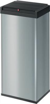 Abfallsammler 60l H770xB340xT260  mm Stahl silber mit Schwingdeckel schwarz