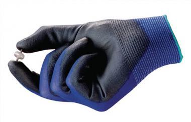 Handschuhe EN388 Kat.II HyFlex 11-618 Gr.8 - 12 PA  Nylon m.Polyurethan blau/schwarz