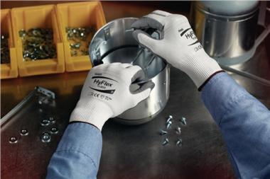 Handschuhe EN388 Kat.II HyFlex 11-800 Gr.10 - 12 PA  Nylon m.Nitrilschaum weiß/grau