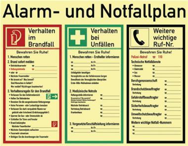 Schild Alarm-u.Notfallp.  620x480mm z.Selbstbeschriften nachleuchtend