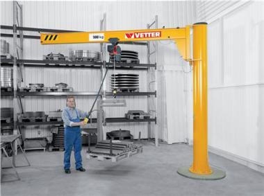 Säulenschwenkkran Trgf.125kg  Auslad.5000mm m.Elektrokettenzug u.Handfahrwerk