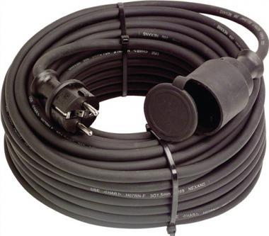 Gummiverlängerungskabel H07RN-F3x1,5mm2  L.10m schwarz IP44  f.innen u.außen