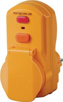 Personenschutzadapter IP44 230V 16A UNI-ELEKTRA  m.Testfunktion