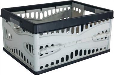 Klappbox L485xB345xH230mm  mit 2 Griffen und Flaschenhalter schwarz-grau