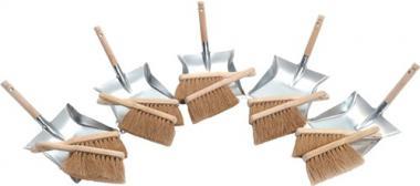 Kehrschaufel-Set 10 Kokos  Handfeger 5 Kehrschaufeln verzinkt
