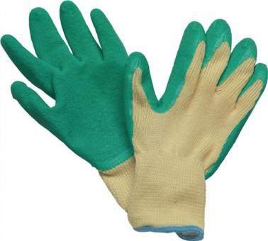 Handschuhe Specialgrip Gr.9 Mittelstrick - 12 PA  Naturlatexbeschichtung gelb/grün