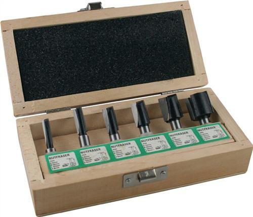 Nutfräsersatz HM 6tlg. Schaft-D.8mm 2Schneiden