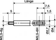Verlängerungsstück L.100mm Messbolzen-D.4mm