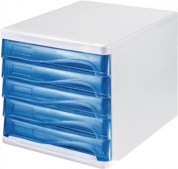 Ablagebox mit 5 Schubladen  Ku.grau/Front blau H245xB265xT340mm stapelbar