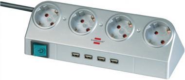 Schreibtischsteckdose 4 Steckdosen L.24,4cm  H05VV-F3G1,5mm² silber