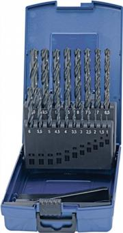 Spiralbohrersatz DIN338 Typ N 1-10mm 0,5mm  HSS 19tlg.Ku.-kassette