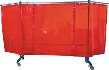 SchutzwandTransFlex 3-teilig  fahrbarB: 3700mm x H: 1950mmVorhang T40 rotorange