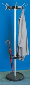 Garderobenständer schwarz/alu  8 Hut-/ 16 Mantelhaken Krone 370mm,Fuss 450mm