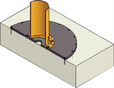 Verbundankersystem Plattendurchm.980mm  f.Kran Trgf.1000kg Ausladung 4000mm