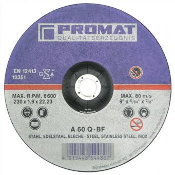 Trennscheibe f.VA/Blech D.125x1mm S.1mm - 25 ST  PROMAT Bohrung 22,23mm