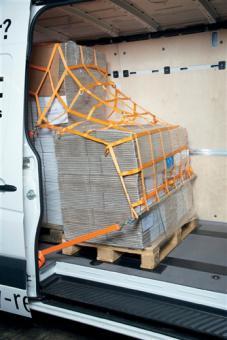 Ladungssicherungsnetz KEP1  925x1600 orange mit 12 triangel + 6 Karabinerhaken