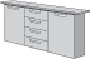 Sideboard H860xB1500xT400mm  2 Türen 2 Schubl.Buche