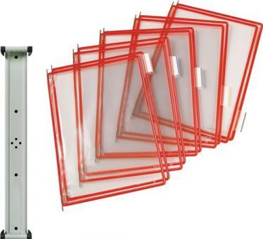 Wandhalter 10 Sichttafeln  DIN A4 PVC-Folie rot m.Drahtrahmen magnetisch