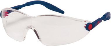 Schutzbrille 2740 Bügel blau/rot  AS AF  UV EN166 PC klar einstellbare Bügel 3M