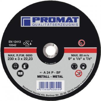 Trennscheibe f.Metall D.230x3mm Bohrung - 25 ST  22,2mm PROMAT gerade