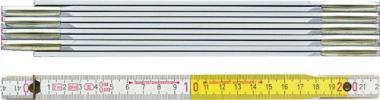 Holzgliedermaßstab 2m weiß/gelb BMI
