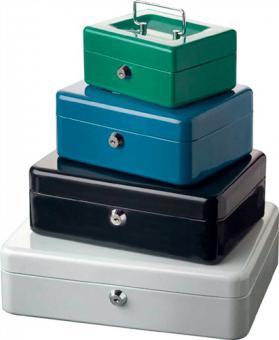 Geldkassette 5015 H.80mm B.152mm T.118mm  grün Zylinderschloss u.Hartgeldeinsatz