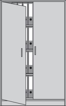 Flügeltürenschrank H1560xB1000xT420mm  3 Böden alusilber/Buche