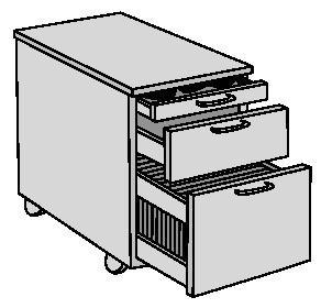 Rollcontainer H580xB420xT600mm  1 Schubl.1 Hängereg. Buche