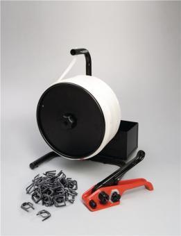 Umreifungsset 19mm PES-Gewebeband  incl. Bandspanner/Verschlussklemmen phosphatiert/ 19mm PES-Band