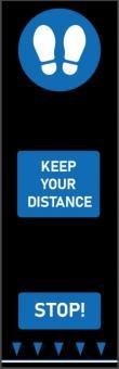 """Social Distancing Bodenmatte """"Abstand Halten""""  Blau, 65 x 200 cm, Fußabdrücke"""