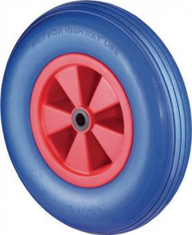 Rad D.400mm Trgf.200kg Naben-L.75mm  Kunststofffelge PU-Reifen blau pannensicher