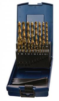 Spiralbohrersatz DIN338 Typ N 1-10,5mm 0,5mm  HSS TiN-besch.24tlg. Ku.-kassette