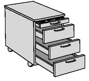 Rollcontainer H580xB420xT600mm  3 Schubl.Buche