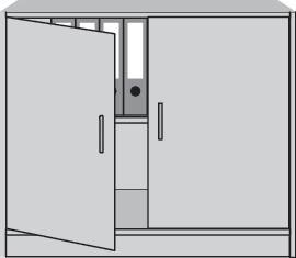 Flügeltürenschrank H820xB1000xT420mm  1 Boden alusilber/Buche