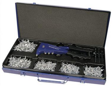 Blindnietsortiment 2,4-5mm 603tlg.  Gr.340x240x55mm PROMAT m.Handnietzange