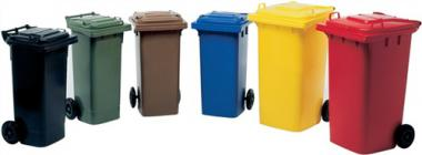 Müllgroßbehälter 120l blau  a.Niederdruck-PE Rad-D.200mm