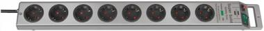 Steckdosenleiste 8fach m.Schalter silber/silber  L.2,5m H05VV-F