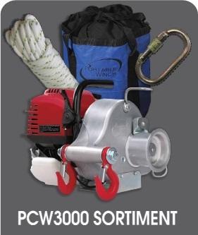 Portable Winch PCW3000 AKTIONS SORTIMENT  mit 50m Seil, Seiltasche, Karabiner