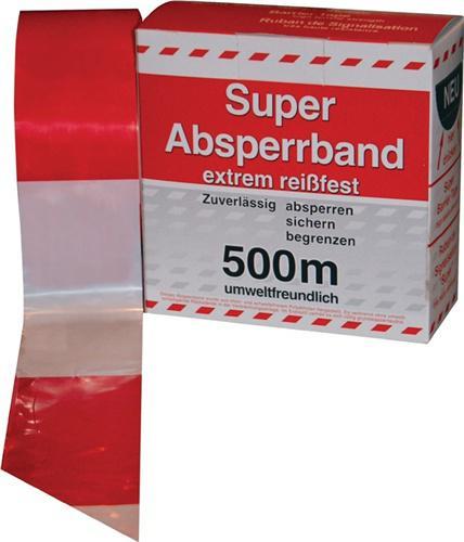 Absperrband L.500m B.80mm rot/weiß