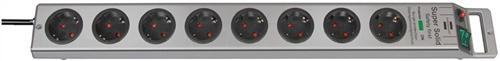 Steckdosenleiste 8fach m.Schalter silber/silber