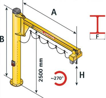 Säulenschwenkkran AS 270  o.Elektrokettenzug Trgf.250kg Ausladung 5000mm