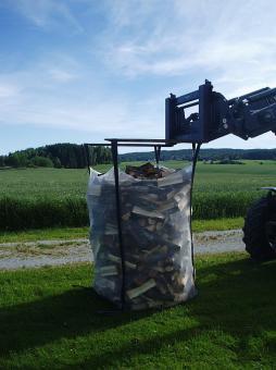 Big Bag für Brennholz 1.5m³, 5-seitig belüftet - 5 Stk  100x100x150cm; mit 4x2 Halteschlaufen+ 2 unten